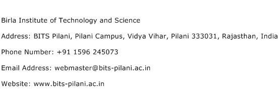 Birla Institute of Technology and Science Address Contact Number