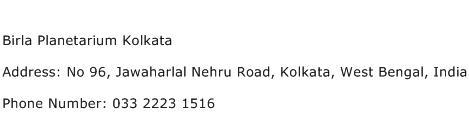 Birla Planetarium Kolkata Address Contact Number