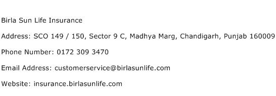 Birla Sun Life Insurance Address Contact Number