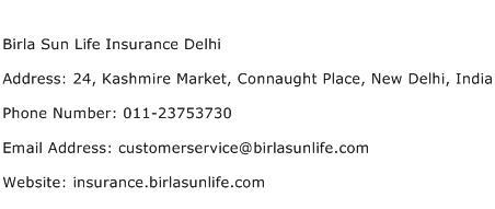 Birla Sun Life Insurance Delhi Address Contact Number