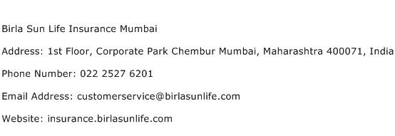 Birla Sun Life Insurance Mumbai Address Contact Number