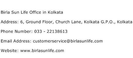 Birla Sun Life Office in Kolkata Address Contact Number
