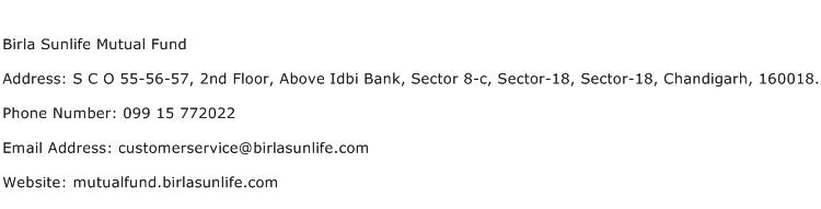 Birla Sunlife Mutual Fund Address Contact Number