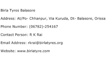 Birla Tyres Balasore Address Contact Number