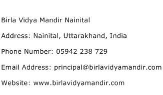 Birla Vidya Mandir Nainital Address Contact Number