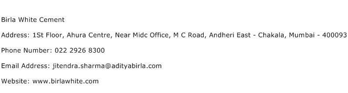 Birla White Cement Address Contact Number