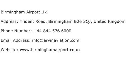 Birmingham Airport Uk Address Contact Number