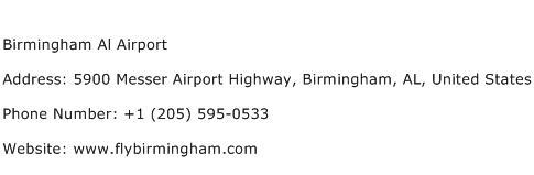 Birmingham Al Airport Address Contact Number