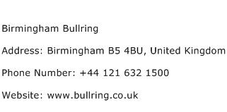 Birmingham Bullring Address Contact Number
