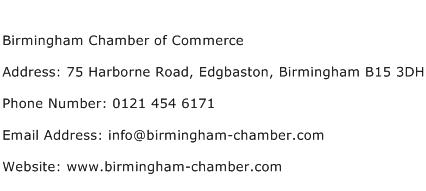 Birmingham Chamber of Commerce Address Contact Number