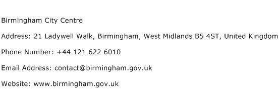 Birmingham City Centre Address Contact Number