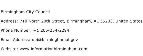 Birmingham City Council Address Contact Number