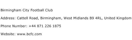Birmingham City Football Club Address Contact Number