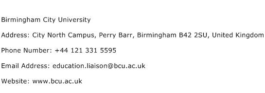 Birmingham City University Address Contact Number