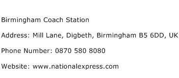 Birmingham Coach Station Address Contact Number
