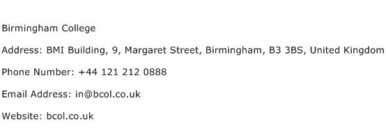 Birmingham College Address Contact Number