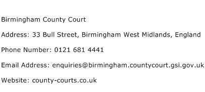 Birmingham County Court Address Contact Number