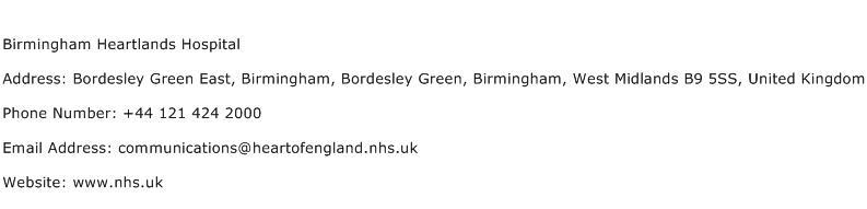 Birmingham Heartlands Hospital Address Contact Number