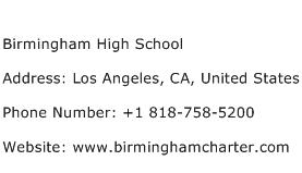 Birmingham High School Address Contact Number