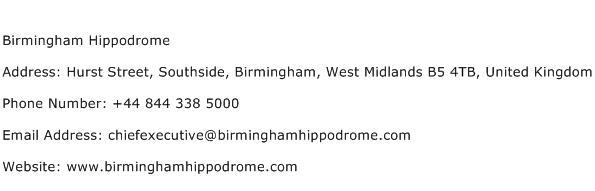 Birmingham Hippodrome Address Contact Number