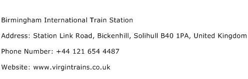 Birmingham International Train Station Address Contact Number