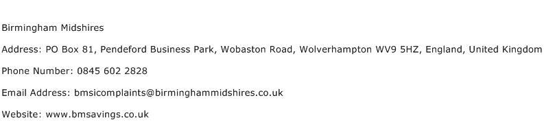 Birmingham Midshires Address Contact Number