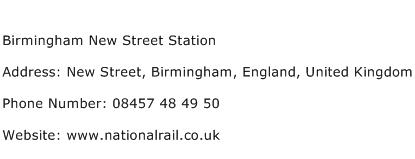 Birmingham New Street Station Address Contact Number