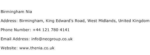 Birmingham Nia Address Contact Number