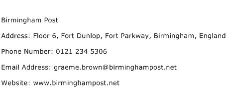 Birmingham Post Address Contact Number