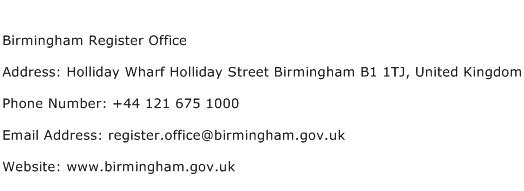 Birmingham Register Office Address Contact Number