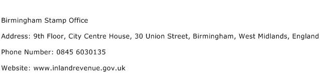 Birmingham Stamp Office Address Contact Number