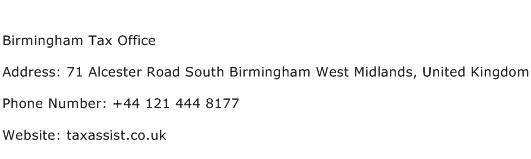 Birmingham Tax Office Address Contact Number