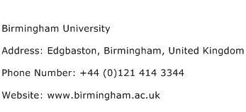 Birmingham University Address Contact Number