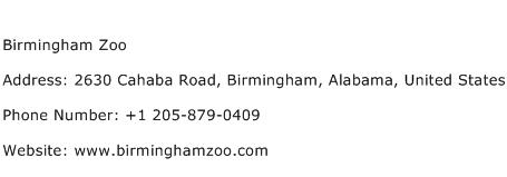 Birmingham Zoo Address Contact Number