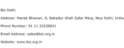 Bis Delhi Address Contact Number