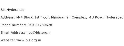 Bis Hyderabad Address Contact Number