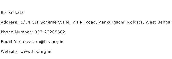 Bis Kolkata Address Contact Number