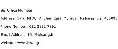 Bis Office Mumbai Address Contact Number
