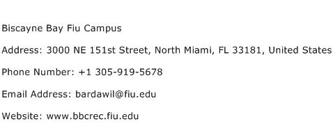Biscayne Bay Fiu Campus Address Contact Number