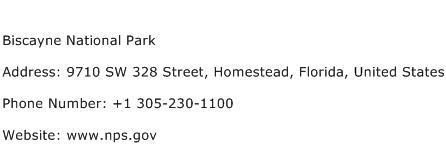 Biscayne National Park Address Contact Number