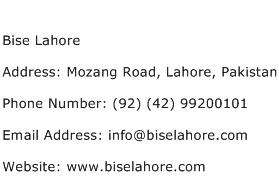 Bise Lahore Address Contact Number