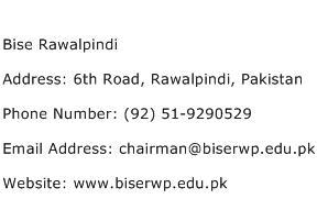 Bise Rawalpindi Address Contact Number