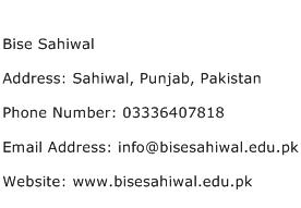 Bise Sahiwal Address Contact Number