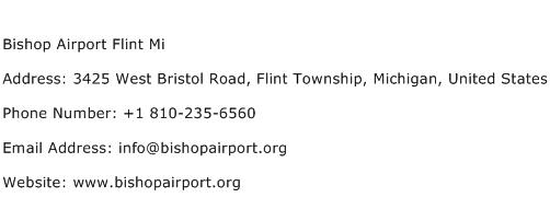 Bishop Airport Flint Mi Address Contact Number