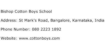 Bishop Cotton Boys School Address Contact Number