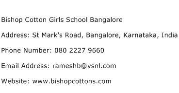 Bishop Cotton Girls School Bangalore Address Contact Number
