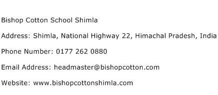 Bishop Cotton School Shimla Address Contact Number