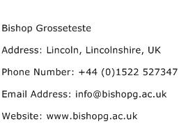 Bishop Grosseteste Address Contact Number