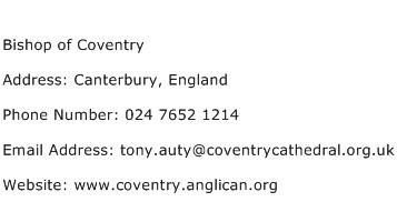 Bishop of Coventry Address Contact Number