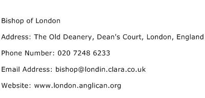 Bishop of London Address Contact Number